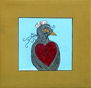 Yellow Beak Painting Metal Prints - Mama Bird Metal Print by Genevieve Esson