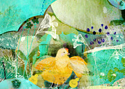 Rights Mixed Media - Mama Hen and Her Babies by Sarah Kiser