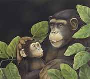 Nurturing Posters - Mama Mama Chimps Poster by Laura Regan