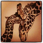 Giraffe Pyrography Originals - Mama Snuggles by Maureen Hargrove