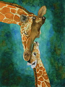 Mother And Baby Giraffe Paintings - Mamas Love by Laurie Henry