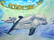 Sea Turtles Paintings - Mamma and Baby by Sol Arts