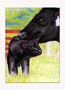 Two By Two Pastels Framed Prints - Mamma and Me Framed Print by Samantha Roberts
