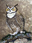 Amate Bark Paper Prints - Mammoth Hunters Great Horned Owl Print by Anne Shoemaker-Magdaleno