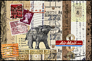 Postage Stamps Prints - Mammoth Mail Print by Carol Leigh