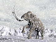 Tusk Prints - Mammoth Walking Through A Blizzard Print by Elena Duvernay