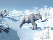 Snow-covered Landscape Digital Art Prints - Mammoths Walking Slowly On The Snowy Print by Elena Duvernay