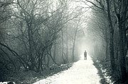 Mysterious Stranger Framed Prints - Man Alone On A Snowy Path In Fog Framed Print by Lee Avison