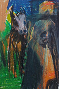 Expressionist Pastels - Man and Dog in the Garden by Edgeworth Johnstone