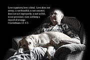 Bible Photos - Man and His Dog at Rest 1Cor.13v4-5 by Linda Phelps