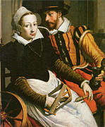Pieter Framed Prints - Man and Woman at a Spinning Wheel Framed Print by Pieter Pietersz