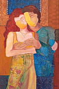 Couples Mixed Media Prints - Man and Woman Print by Debi Pople