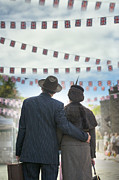 Embracing The World Prints - man and woman embracing on VE Day at the end of world war two Print by Lee Avison
