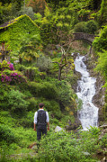 Man Photo Prints - Man At A Waterfall Print by Joana Kruse