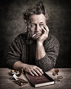 Gary Heller Metal Prints - Man at the table - Lonely Hearts Club Metal Print by Gary Heller