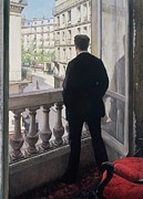 Watching Framed Prints - Man at the Window Framed Print by Gustave Caillebotte