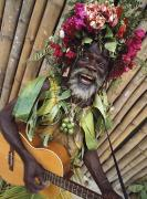 Jamaican Photos - Man Busking For Money In Island Village by Ian Cumming