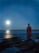Moonlit Night Prints - Man by the Lake in the Moonlight Print by Jill Battaglia