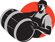 Keg Prints - Man Carrying Wine Barrel Cask Keg Retro Print by Aloysius Patrimonio