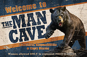 Black Man Painting Posters - Man Cave Balck Bear Poster by JQ Licensing