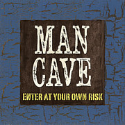 Man Cave Enter At Your Own Risk Print by Debbie DeWitt