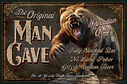 Black Painting Posters - Man Cave Grizzly Poster by JQ Licensing