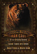 Deer Posters - Man Cave Grizzly Poster by JQ Licensing