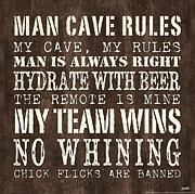 Words Prints - Man Cave Rules 1 Print by Debbie DeWitt