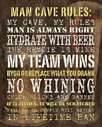 Words Prints - Man Cave Rules 2 Print by Debbie DeWitt
