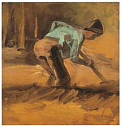 Impressionism Drawings Prints - Man Digging Print by Vincent van Gogh