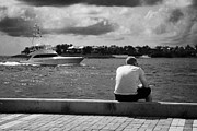 Man Fishing On Mallory Square Seafront Key West Florida Usa Print by Joe Fox