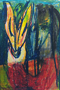 Expressionist Pastels Framed Prints - Man Holding Phoenix Framed Print by Edgeworth Johnstone
