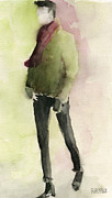 Watercolours Posters - Man in a Green Jacket Fashion Illustration Art Print Poster by Beverly Brown Prints