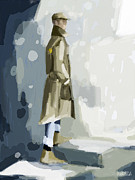 Trench Painting Posters - Man in a Trench Coat Fashion Illustration Art Print Poster by Beverly Brown Prints