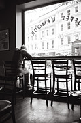 Table And Chairs Framed Prints - Man in cafe Framed Print by Jimmy Karlsson