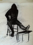 Chair Drawings Framed Prints - Man in Chair Framed Print by Diane Phelps
