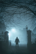 Mysterious Stranger Framed Prints - Man In Fog In Gateway Framed Print by Lee Avison