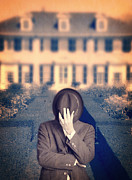 Hiding Metal Prints - Man in front of mansion  Metal Print by Edward Fielding