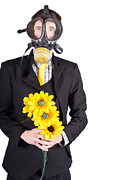 Man In Gas Mask With Flowers Print by Ryan Jorgensen