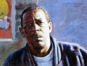 Black Man Painting Posters - Man in Morning Sunlight Poster by John Lautermilch