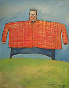 Distorted Painting Posters - Man In Orange Plaid Shirt Poster by Tim Nyberg
