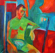 Petrol Green Prints - Man In Still Life Print by Magdalena Mirowicz