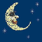 Man In The Moon Dazzled Print by R  Allen Swezey