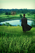 Young Man Framed Prints - Man in Top Hat on a Hill Framed Print by Jill Battaglia
