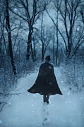 Snowy Evening Posters - Man in Top Hat Walking through Wintery Woods. Poster by Jill Battaglia