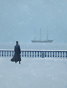 Period Clothing Prints - Man in Top Hat Watching a Ship in Snow Print by Jill Battaglia