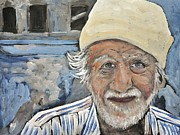 Elderly People Paintings - Man India by Reb Frost