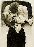 Man Holding Baby Art - Man Loves his Baby by Diana Moll
