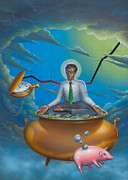 Stock Market Painting Posters - Man Meditating sitting On Pot Of Gold Poster by Walt Curlee