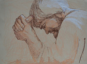 Praying Drawings Originals - Man Of Sorrow Acquainted With Grief by Nancy Mauerman